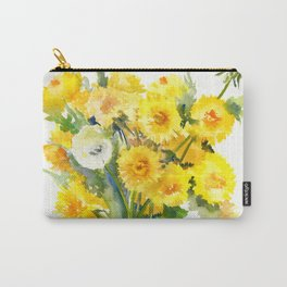 Dandelion Flowers, Herbal, herbs, field flowers, yellow floral design Carry-All Pouch