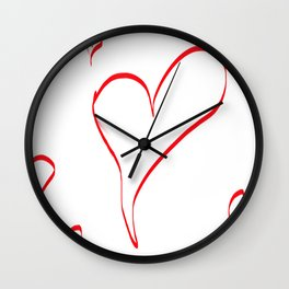Several red hearts, love, sentimentality, romanticism Wall Clock