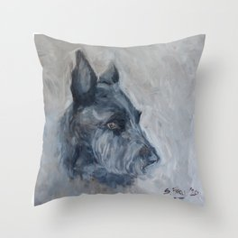 Patiently waiting- A Scottie Dog Throw Pillow
