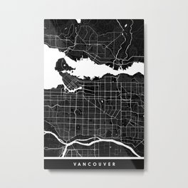 Vancouver - Minimalist City Map Metal Print