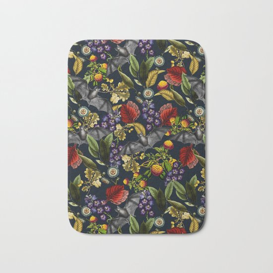 Flying Fox and Floral Pattern Bath Mat
