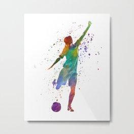 Woman soccer player 09 in watercolor Metal Print