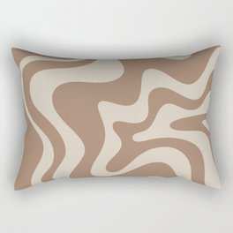 Liquid Swirl Contemporary Abstract Pattern in Chocolate Milk Brown and Beige Rectangular Pillow