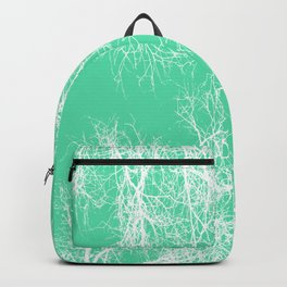 White silhouetted trees on green Backpack