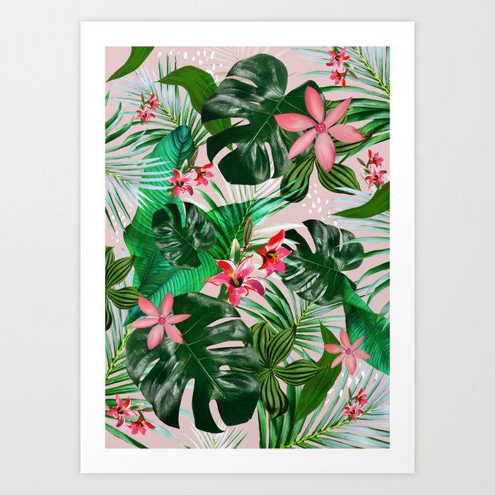 Tropical palm leaf with red flowers Kunstdrucke
