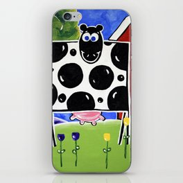 Smiley Smile Dairy Cow Farm Red Barn Moo Holstein Series Milk Flowers Trees Hills Tulips iPhone Skin