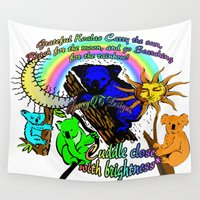cuddle Wall Tapestries featuring Grateful Koalas Cuddle Close by Wired Circuit