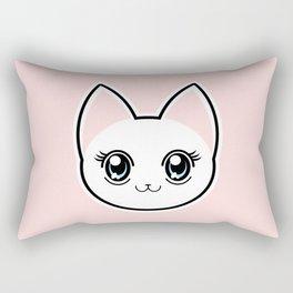 White Anime Eyes Cat Rectangular Pillow