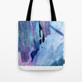Pull: an abstract mixed media piece in blues, purple, black, and white Tote Bag