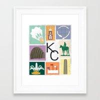kansas city Framed Art Prints featuring Kansas City Landmark Print by Jenna Davis Designs