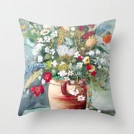 Rustic Floral Arrangement Oil on Splint Throw Pillow