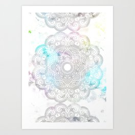 abstract gray and turquoise mandala design in minimal style Art Print