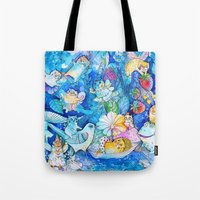 fairies Tote Bags featuring Fairies Cats by oxana zaika