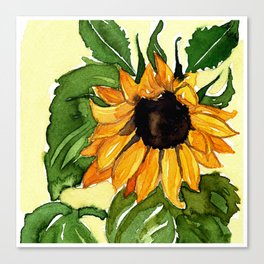 Watercolor Sunflower Canvas Print