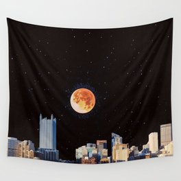Blood Moon Over Pittsburgh Pennsylvania Skyline-Night Sky and Stars Wall Tapestry