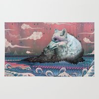 waves Area & Throw Rugs featuring Lone Wolf by Mat Miller