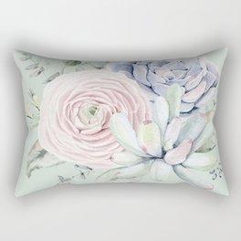 Mint Green + Pink Delight Succulents Rectangular Pillow