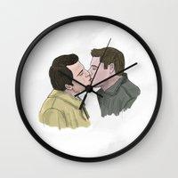 destiel Wall Clocks featuring Destiel by Percy