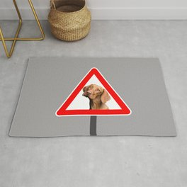 Road Sign - Right of way - Weimaraner dog #society6 #dog Rug
