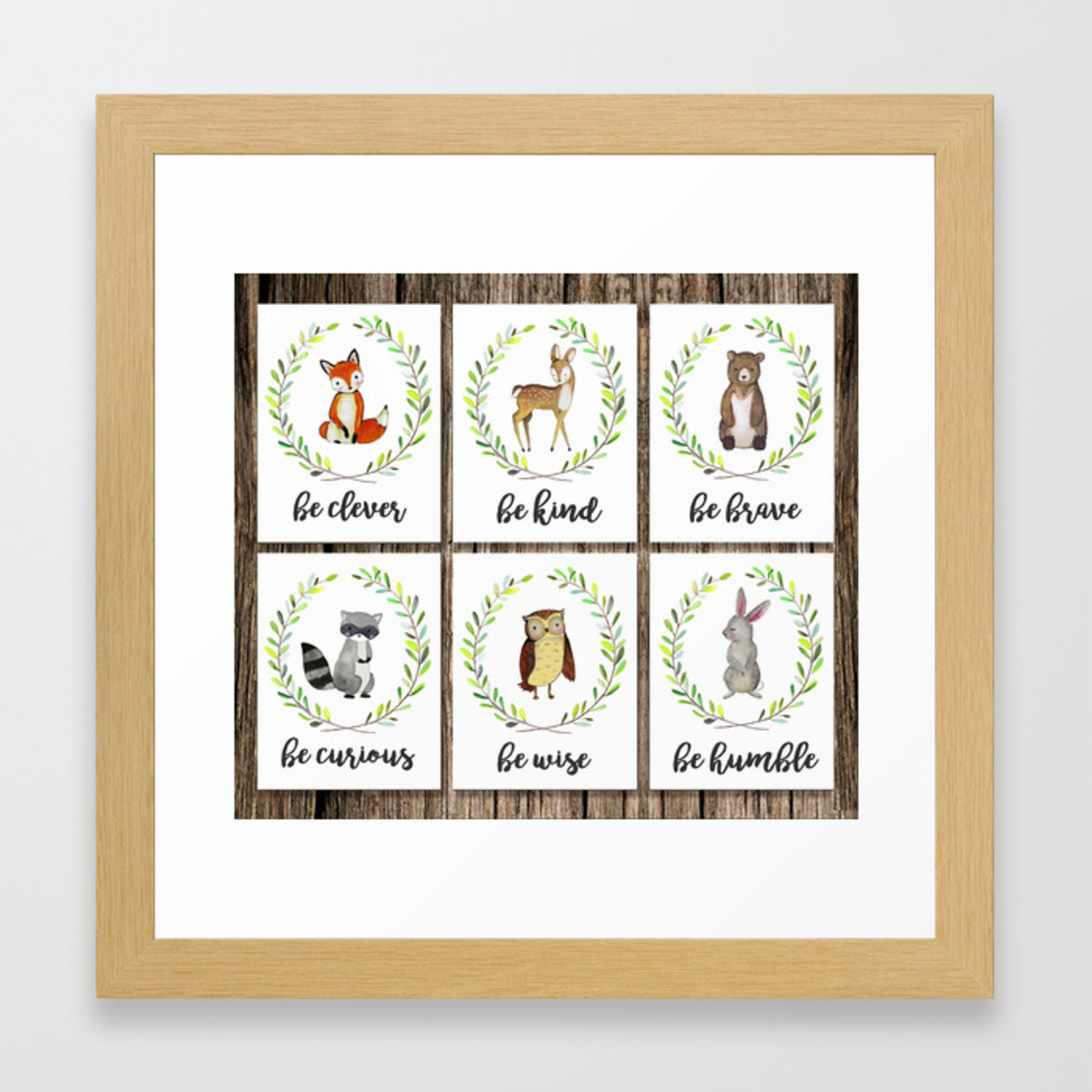 Woodland Creature Animal Nursery Fox Deer Rac Owl Bunny Rabbit Bear Baby Art Decor Print Kind Framed