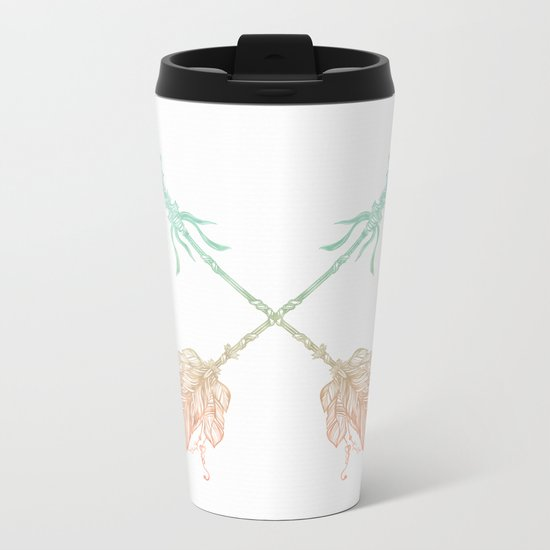 Arrows Turquoise Coral on White Metal Travel Mug