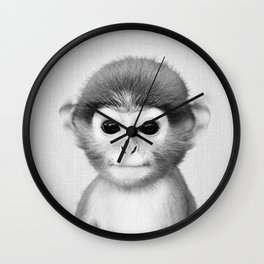 Baby Monkey - Black & White Wall Clock