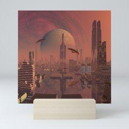 Futuristic City with Space Ships Mini Art Print