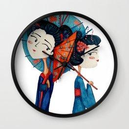Blue Geishas Wall Clock