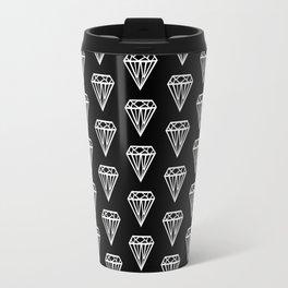 Bijou - geometric gem diamond pattern in black and white Travel Mug