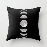 moon phases Throw Pillows featuring Phases by My Studio