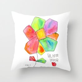 """""""Bloom Your LOVE"""" Original Watercolor Flowers pattern Throw Pillow"""