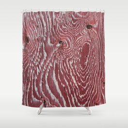 Red Painted Plywood Shower Curtain
