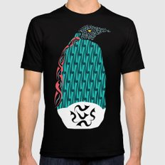 Abstract Penguin Black Mens Fitted Tee MEDIUM