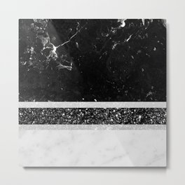 Black and White Marble Black Glitter Stripe Glam #1 #minimal #decor #art #society6 Metal Print