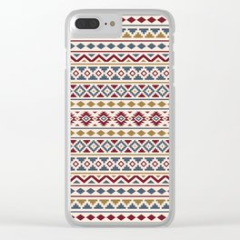 Aztec Essence Pattern II Red Blue Gold Cream Clear iPhone Case