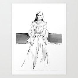 Carolina Herrera Fashion Sketch Art Print