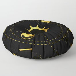 Solar Eclipse black Floor Pillow
