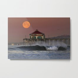 Super Moonset Huntington Beach Pier 2-19-19 Metal Print