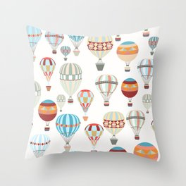 Adventure illustration pattern with air balloons in vintage hipster style Throw Pillow