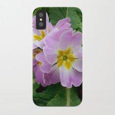 Purple primula at the park Slim Case iPhone X