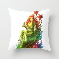 poison ivy Throw Pillows featuring Poison Ivy by aken