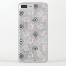 Contemporary Concrete Grid Pattern Clear iPhone Case