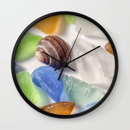 Tiny sea shell and Beach Glass Wall Clock