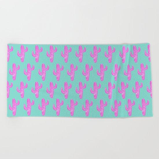 Linocut Cacti Blink Beach Towel