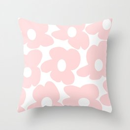 Large Baby Pink Retro Flowers on White Background #decor #society6 #buyart Throw Pillow