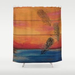 Rising Sun. My Orginal Abstract Painting by Jodilynpaintings. Abstract Sunset With Feathers. Beach Shower Curtain