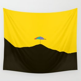 Colorful Umbrella On A Black Mountain In A Yellow Background - #society6 #buyart Wall Tapestry