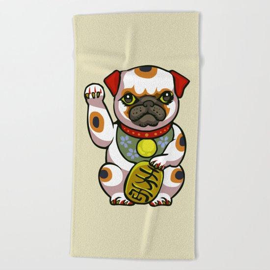 Maneki Pugko Beach Towel
