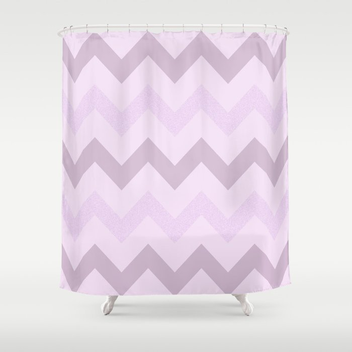 Lilac Glitter Chevron - by Rui & Cheryl Shower Curtain