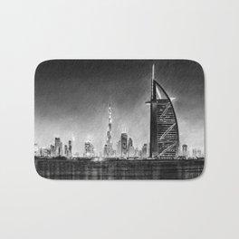 Dubai Cityscape Drawing Bath Mat
